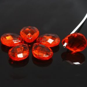 Beads, Imitation Crystal beads, Acrylic, red, Faceted Teardrops, 10mm x 8mm, 7g, 40 Beads, (SLZ0467)